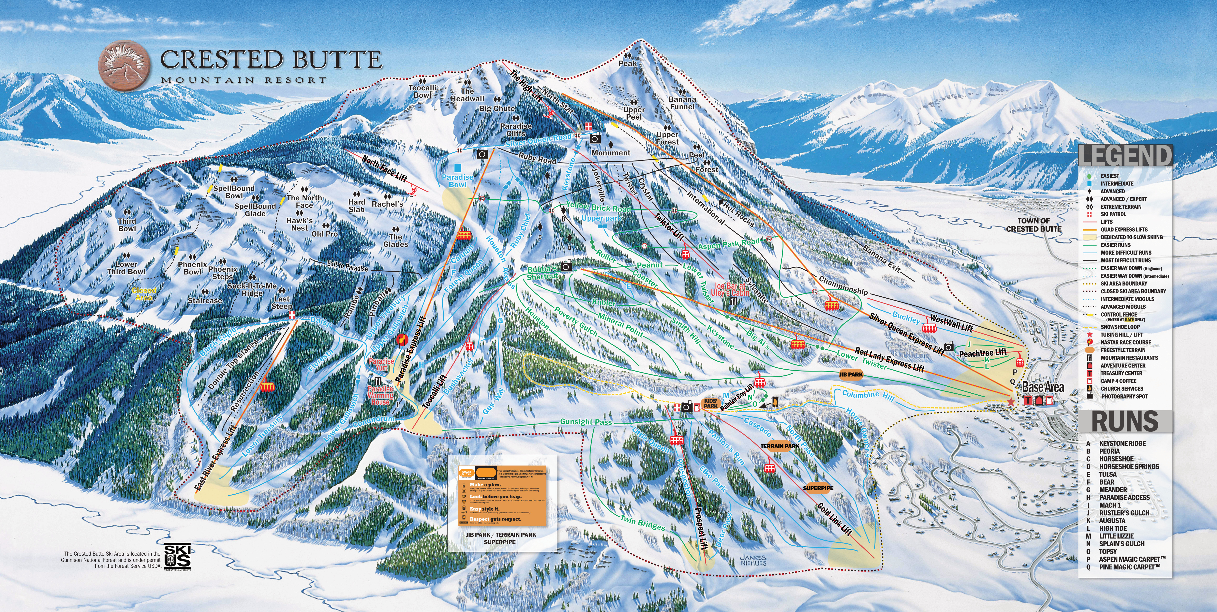 Crested Butte Map Crested Butte Mountain Resort   SkiMap.org