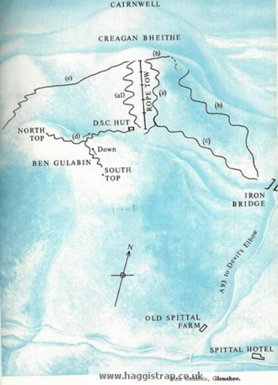 Map showing location of pistes and lifts during the 1960s.