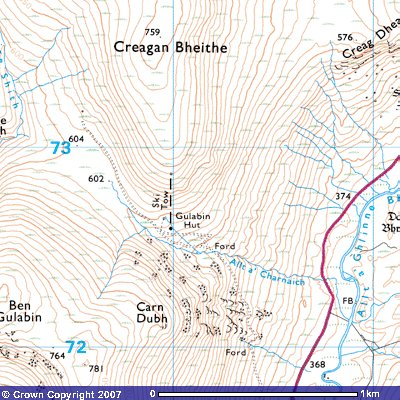 Topo map showing location of abandoned ski lift.