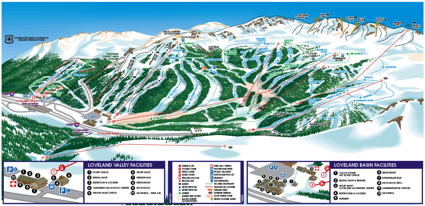 Skiing Colorado Map.Loveland Skimap Org