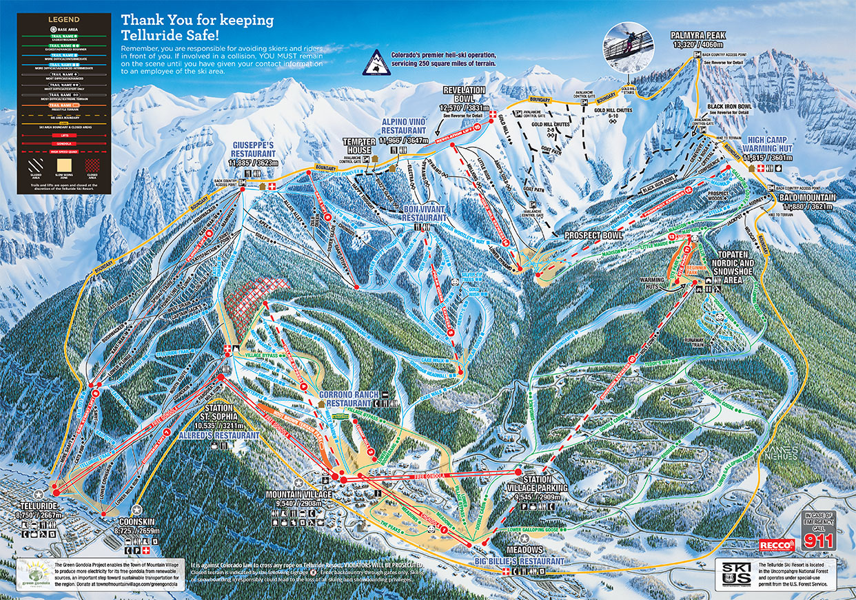 Telluride Colorado Map Telluride   SkiMap.org Telluride Colorado Map