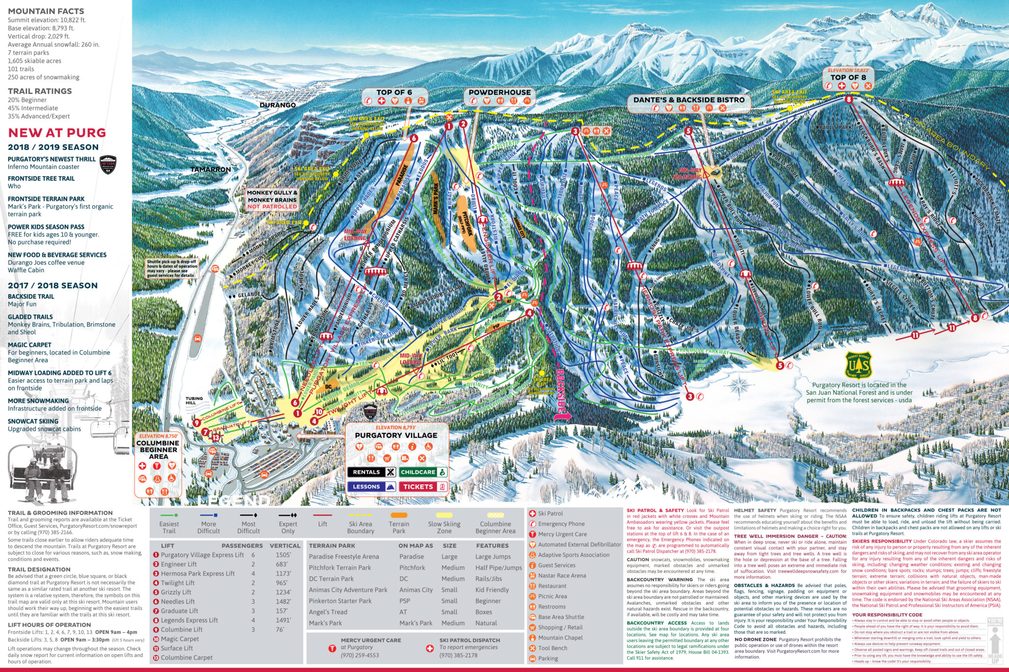 Highway Of Legends Colorado Map.Purgatory Durango Mountain Resort Skimap Org