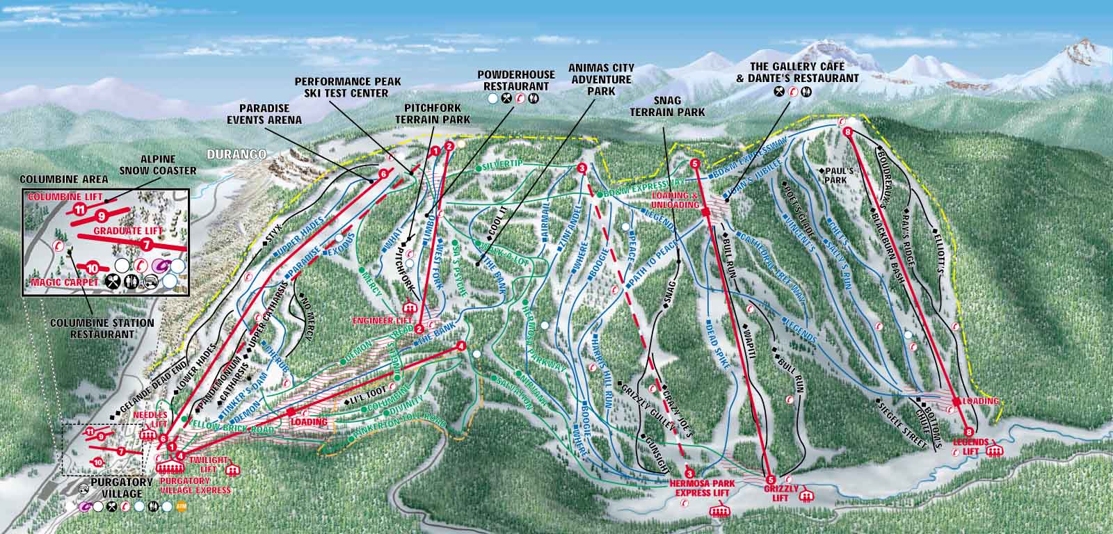 Purgatory Durango Mountain Resort SkiMaporg - Map of colorado ski resorts and cities