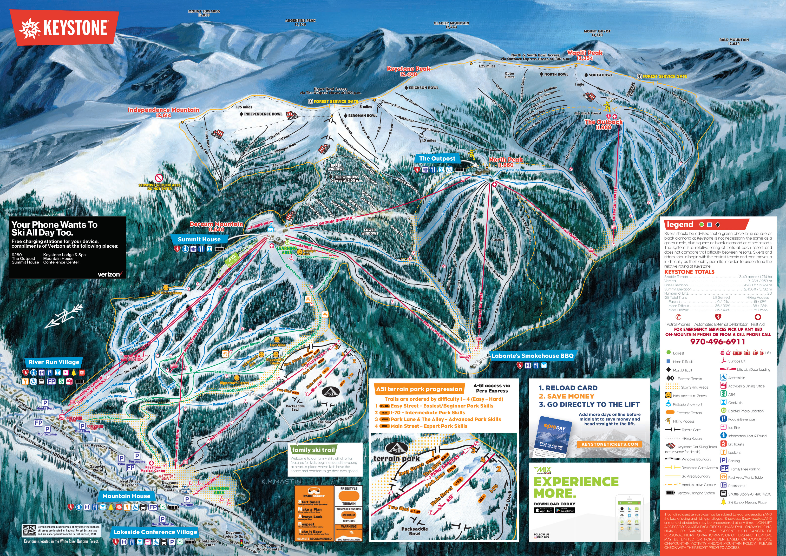 Keystone Ski Map Keystone Resort   SkiMap.org