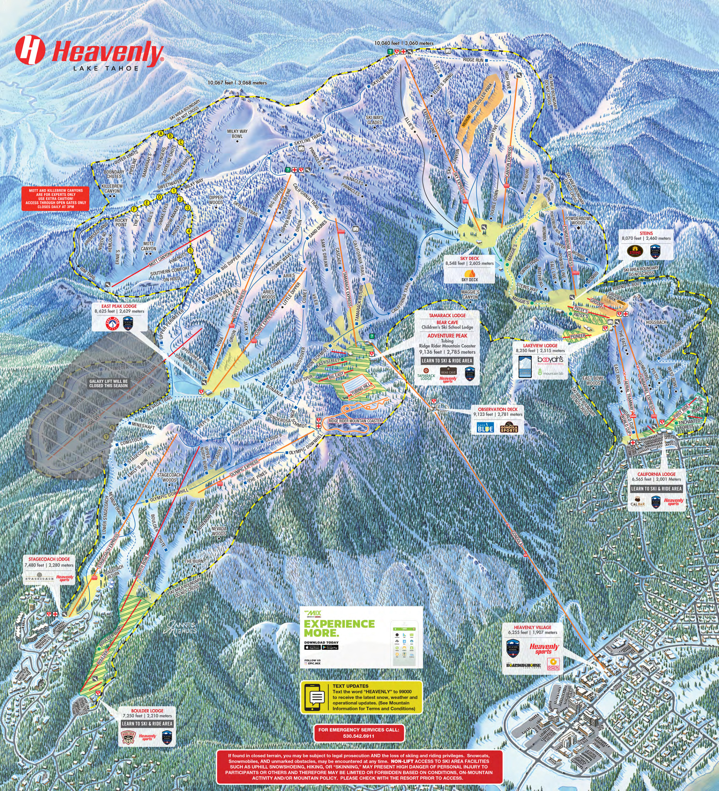 Heavenly Ski Map Heavenly Ski Resort   SkiMap.org