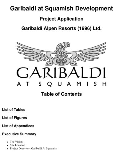 1997 Garibaldi Alpen Resorts Application for a Project Approval Certificate Part 1