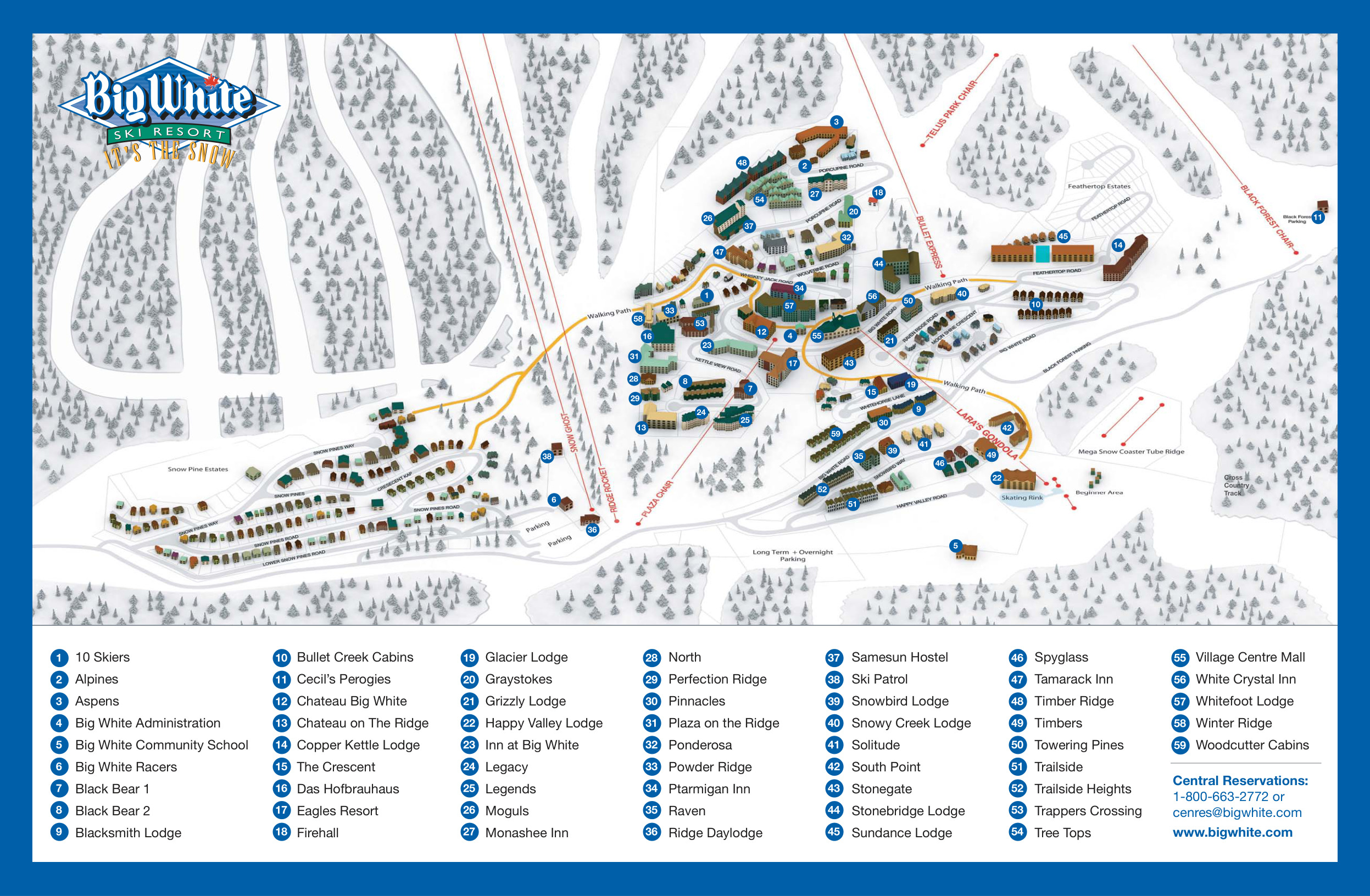 Big White Map Big White Ski Resort   SkiMap.org