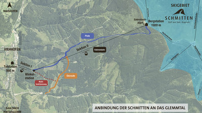 Map showing locations of proposed Gondalas to Link Zell am See with Saalbach-Hinterglemm