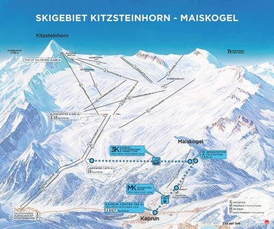 Map of new lifts to link the 2 Kaprun ski areas - scheduled to open for the 2019/20 season.