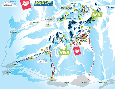 Map 1 of a proposed connection with neighbouring skiing areas (Mutterer Alm and Schlick 2000). See brueckenschlag-tirol.com.