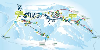 Map 2 of a proposed connection with neighbouring skiing areas (Mutterer Alm and Schlick 2000). See brueckenschlag-tirol.com.