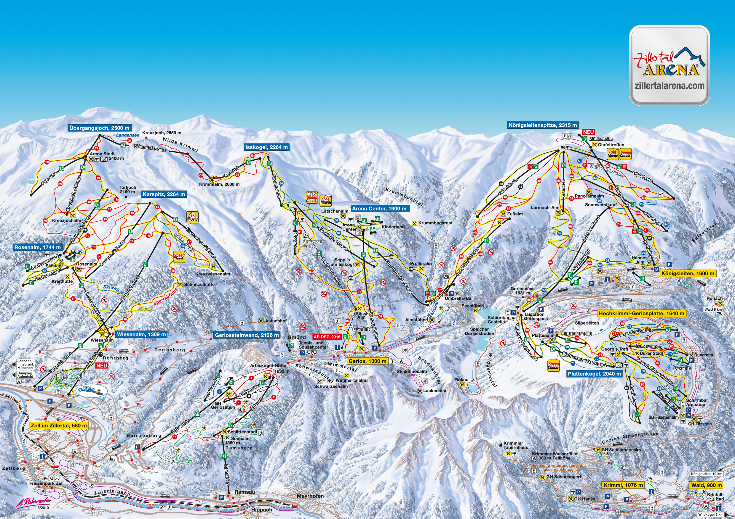 Map Of Zell Germany.Zillertal Arena Skimap Org