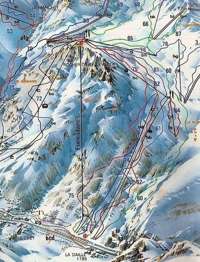 Piste map from the mid 1980s showing the La Daille sector.