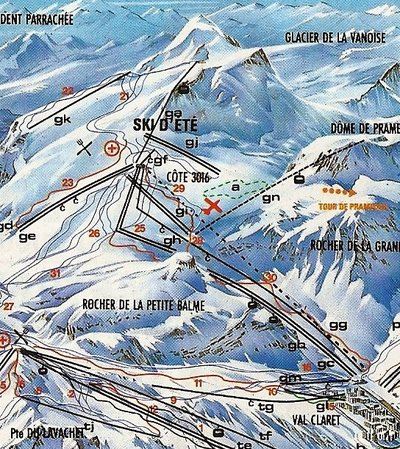 Section of piste map showing the Grand Motte glacier in 1988.