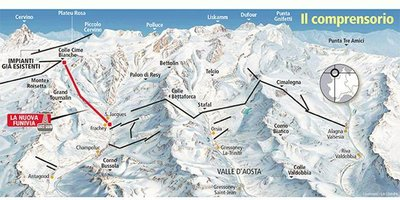 Map showing proposals for new cable car (Red) to link Zermatt/Cervinia to Monterosa ski to create a combined area of 530km. The lift is expected to cost 65 million EUR.