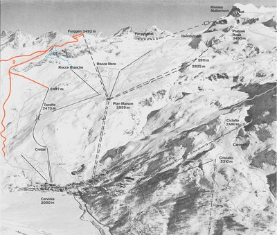 Map of Cervina piste showing the abandoned Furggen cable car (runs off this lift are highlighted in Red). Exact publication date is unclear but this lift ran from 1953 till 1993 and the map is likely to date from the beginning of this period.