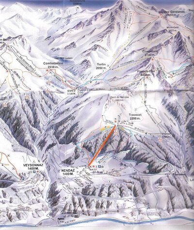 Piste map, with the new Novelli quad chairlift going from Siviez to Combatseline